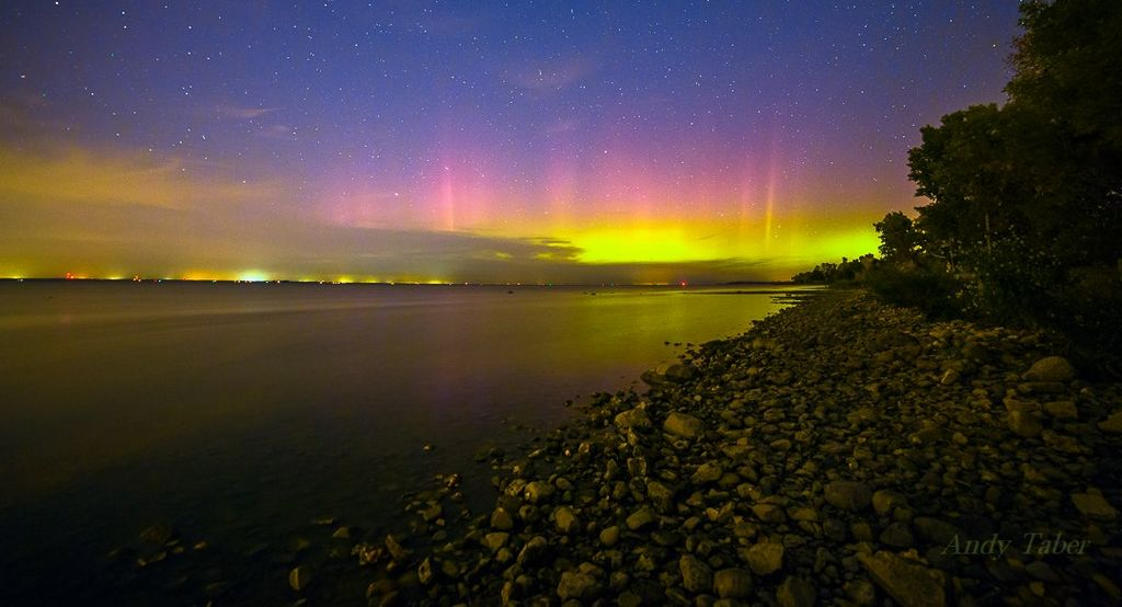 Aurora Borealis. From Lake Michigan by Andy Taber